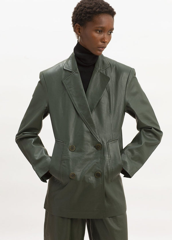 Debbie Leather Blazer by Remain Birger Christensen in Deep Depths
