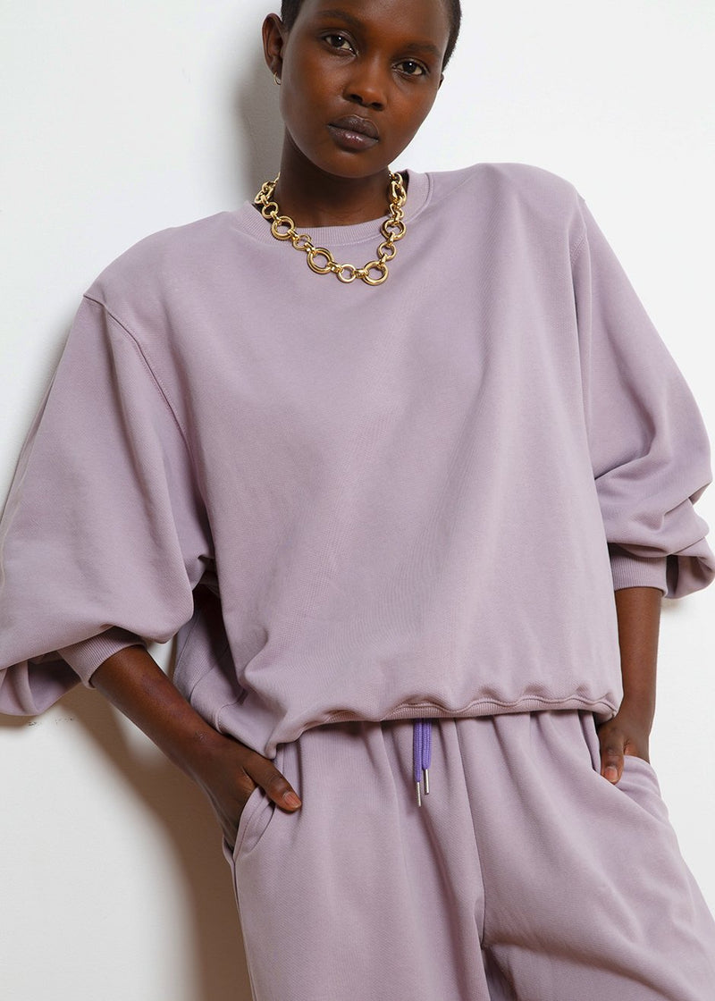 Vanessa Padded Shoulder Sweatshirt in Lilac