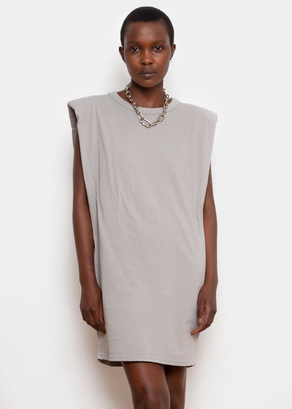 Tina Padded Shoulder Muscle Dress- Light Grey