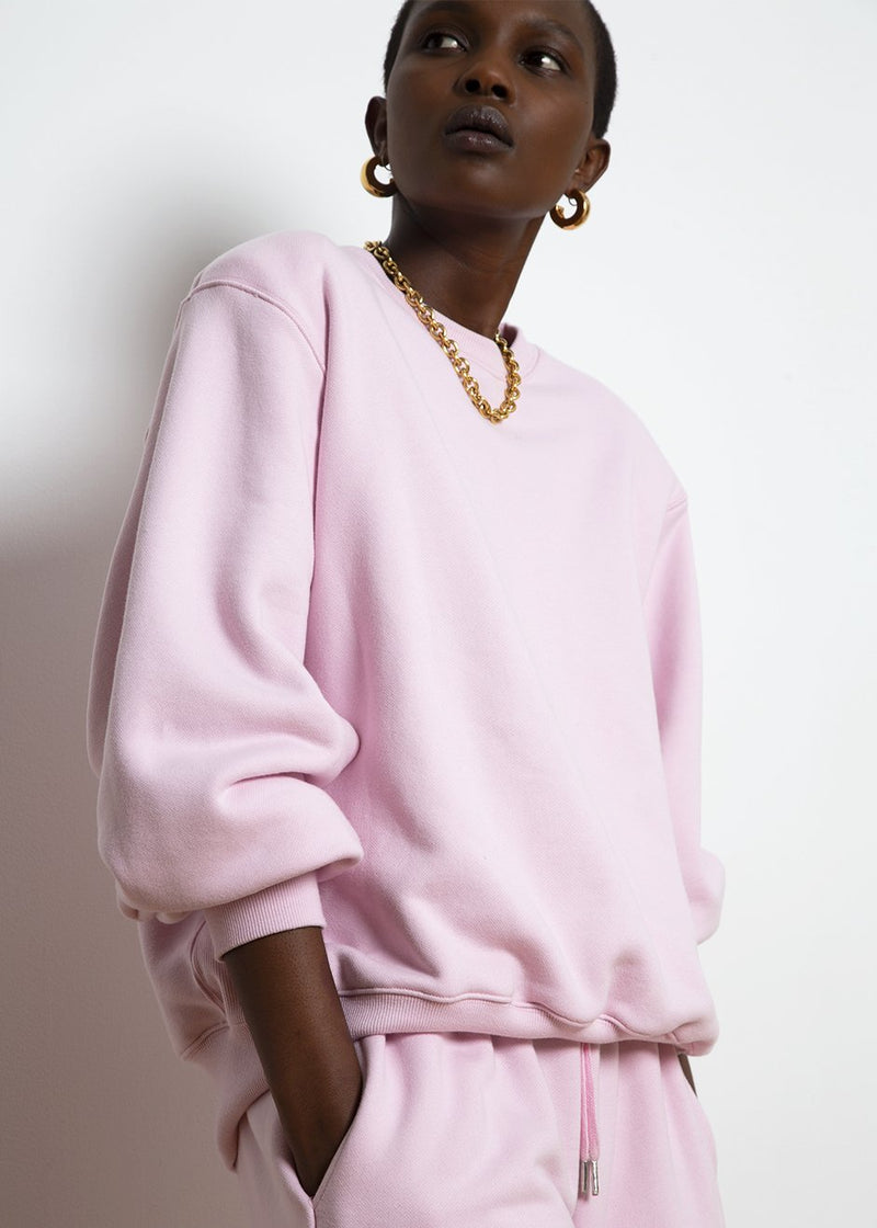 Vanessa Padded Shoulder Sweatshirt in Bubble Pink
