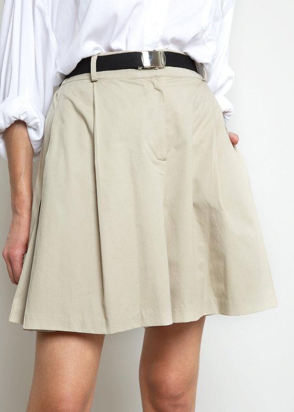Side Pleated Shorts with Black Web Belt- Beige