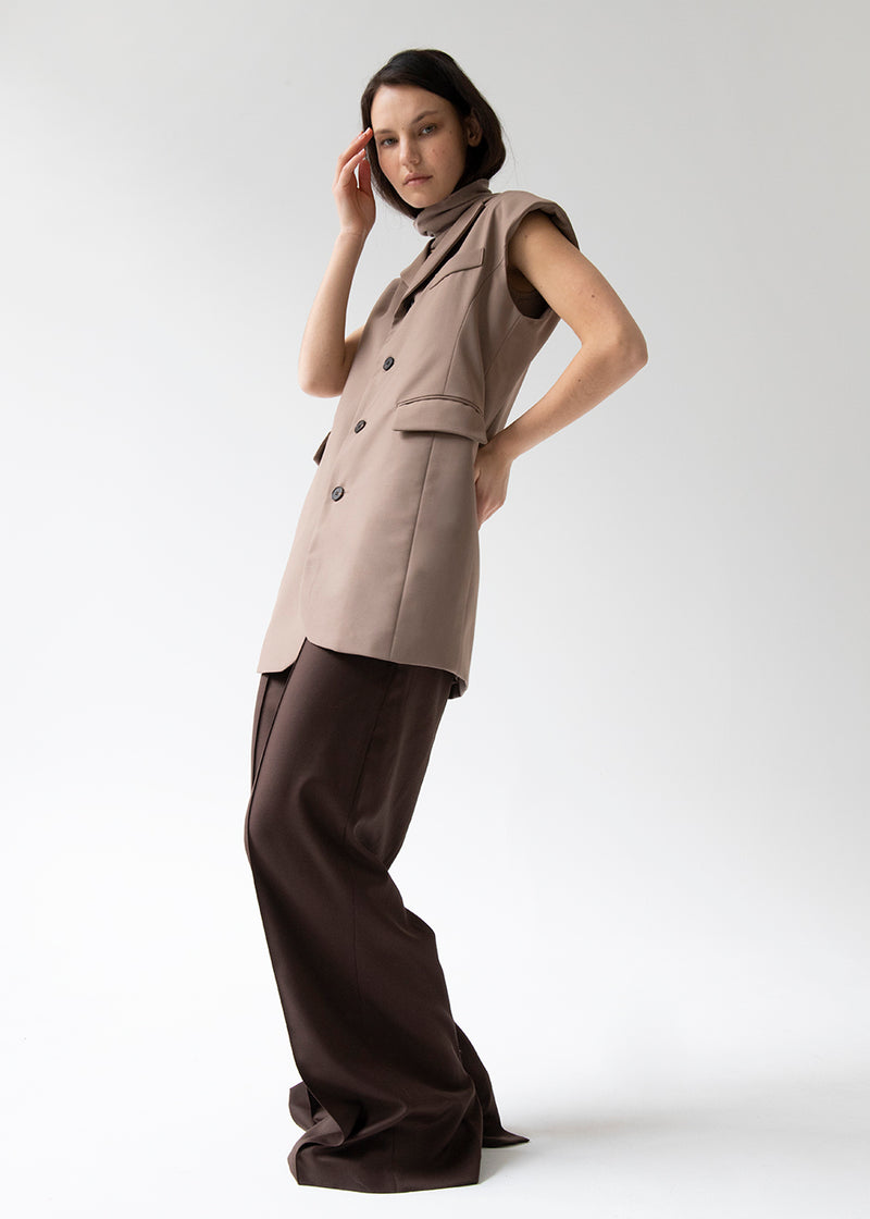 Loulou Padded Shoulder Vest Dress in Tawny Brown
