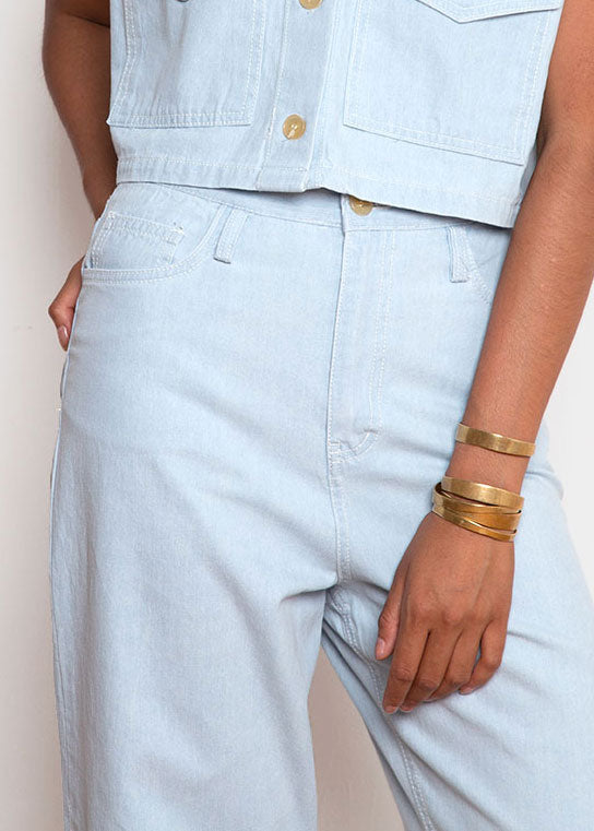 Pale Blue Denim Belted Pants