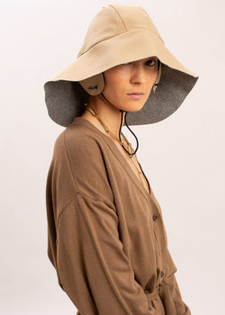 Wool Trench Hat by KASSL Editions in Light Grey/Camel