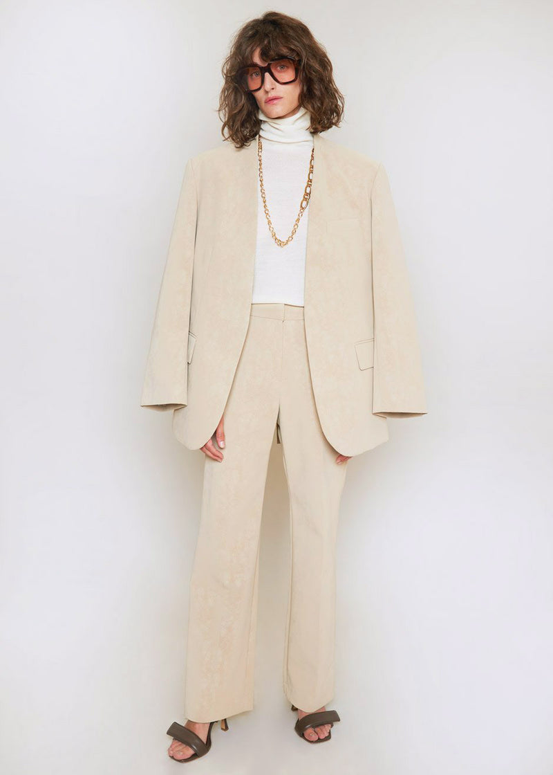 Sueded Collarless Belted Blazer in Biscotti