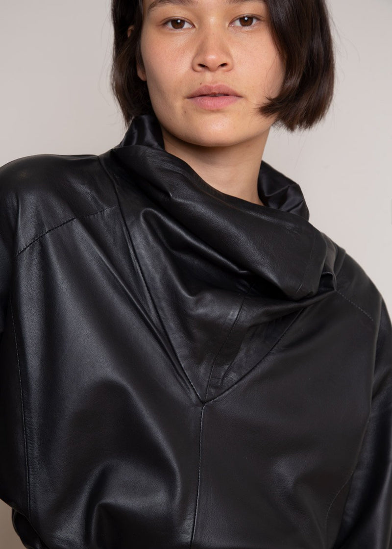 Sortie Roll Neck Leather Top by Remain Birger Christensen in Black