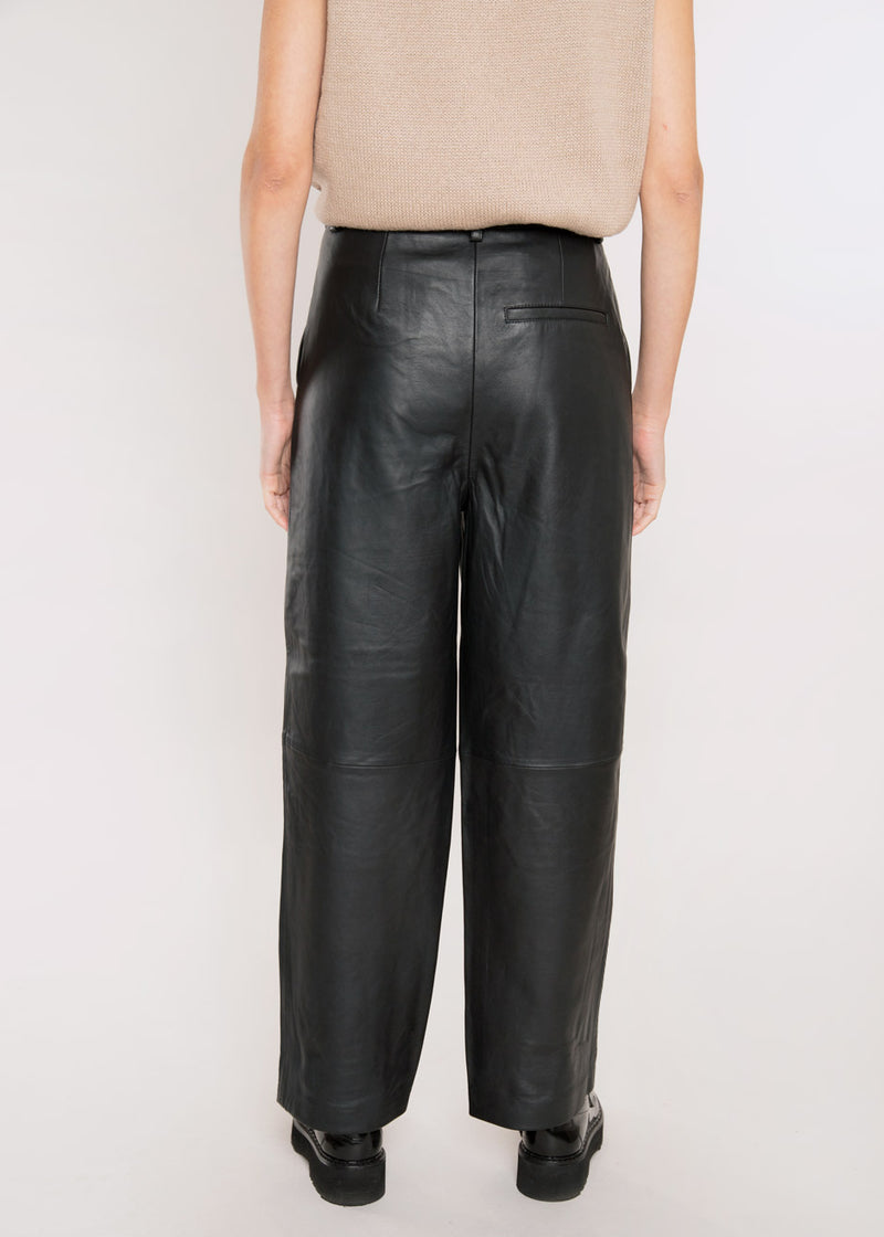 Aliah Leather Culotte Trousers by Gestuz in Black