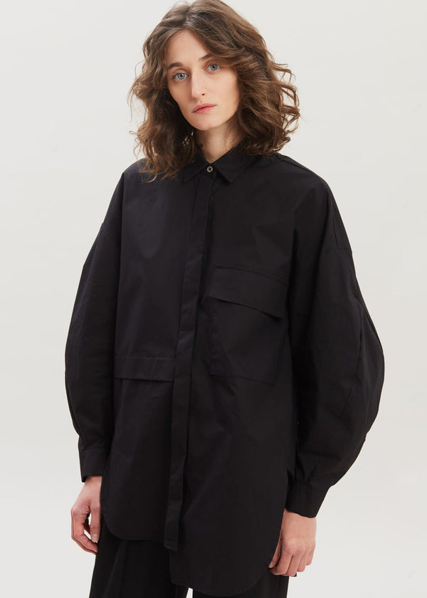 Balloon Sleeve Pocket Shirt in Black