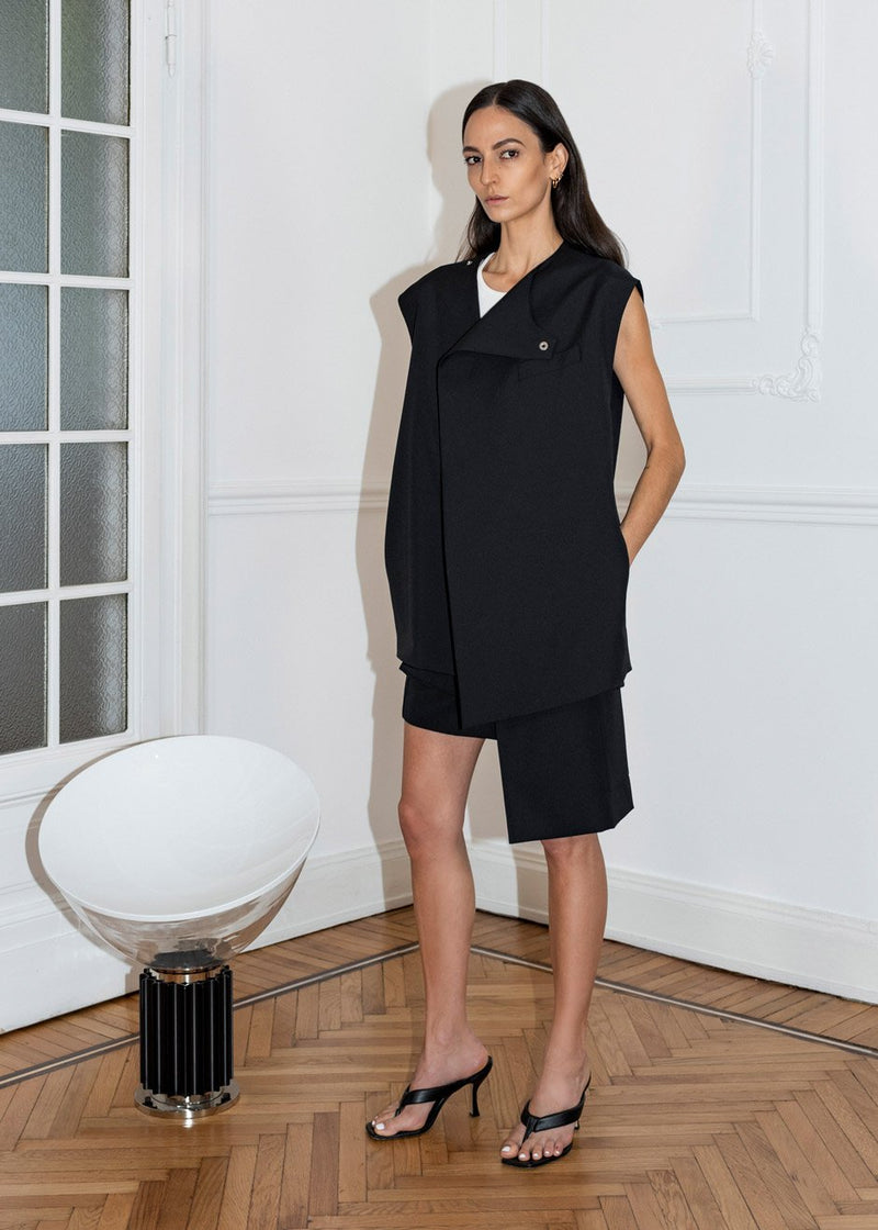 Asymmetric Sleeveless Blazer by Covert x Ilenia Toma in Black