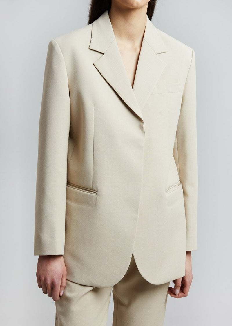 Concealed Button Blazer in Sand