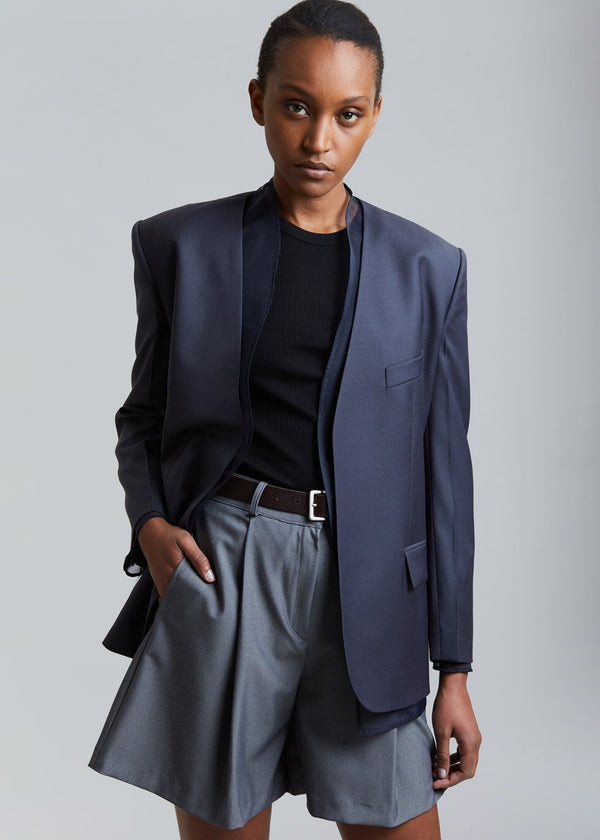 Mesh Layer Blazer by Low Classic in Navy
