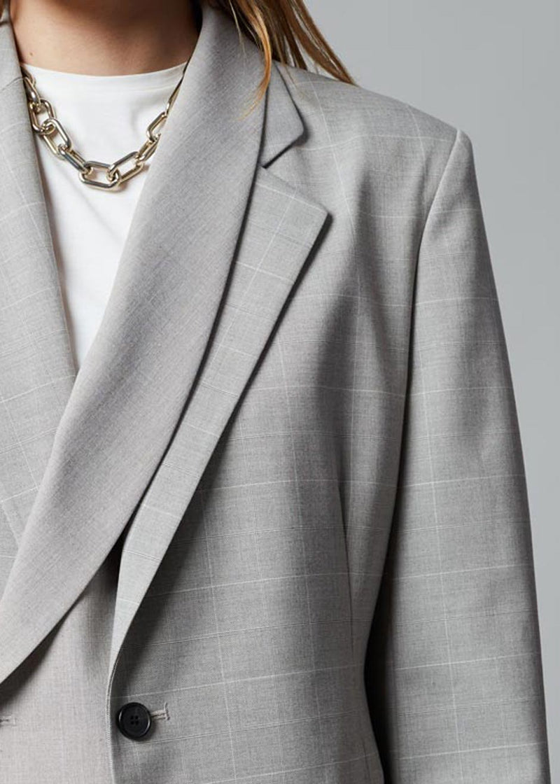 Horatio Layered Blazer - Light Grey Plaid