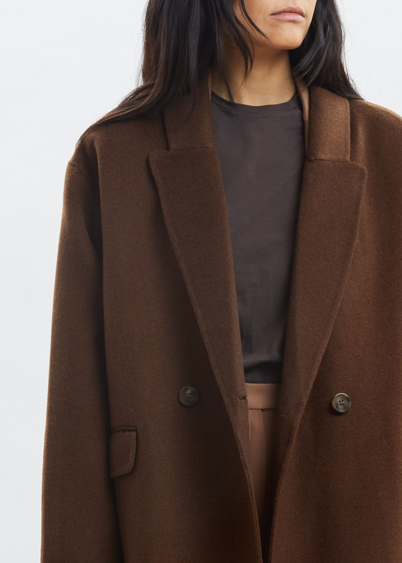 Double Breasted Belted Wool Overcoat in Chocolate