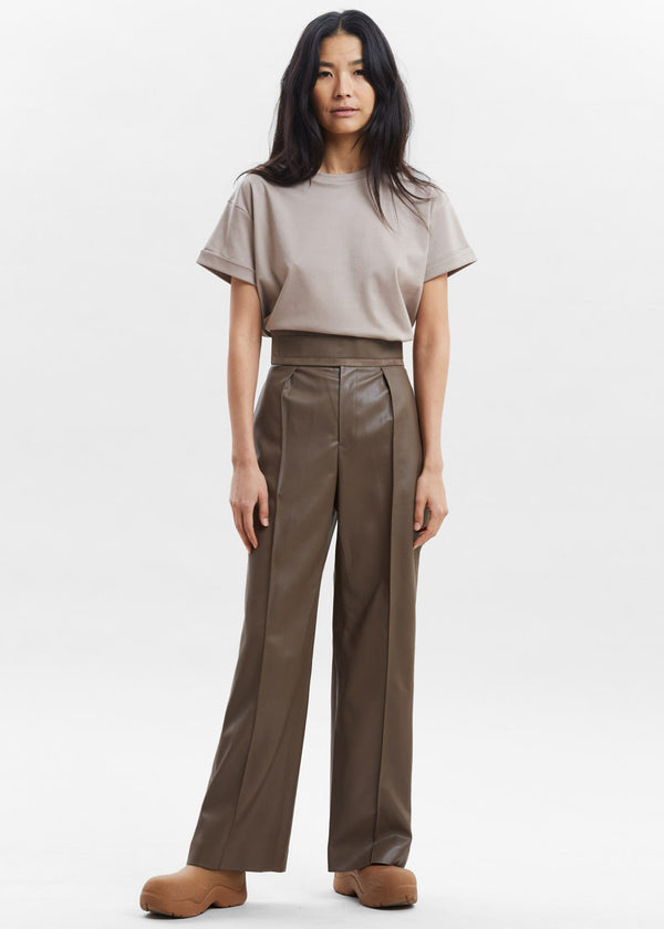 Wide Band Faux Leather Trousers in Walnut