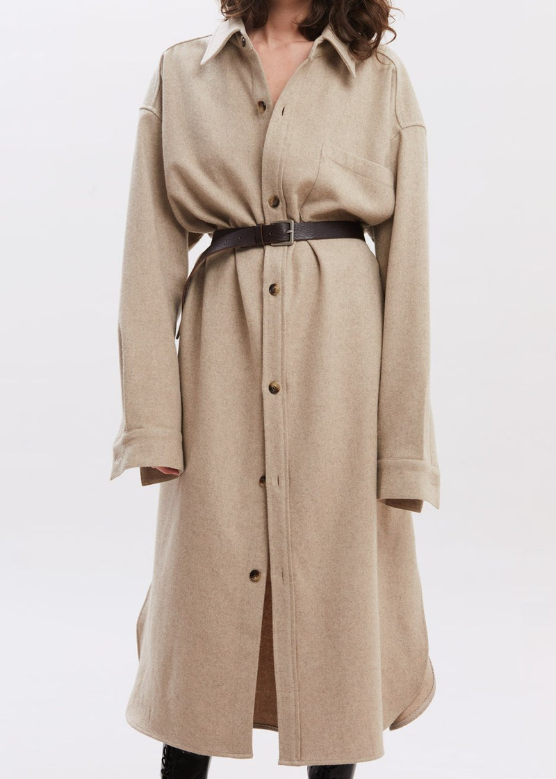Long Oversized Wool Shirt Dress in Oatmeal