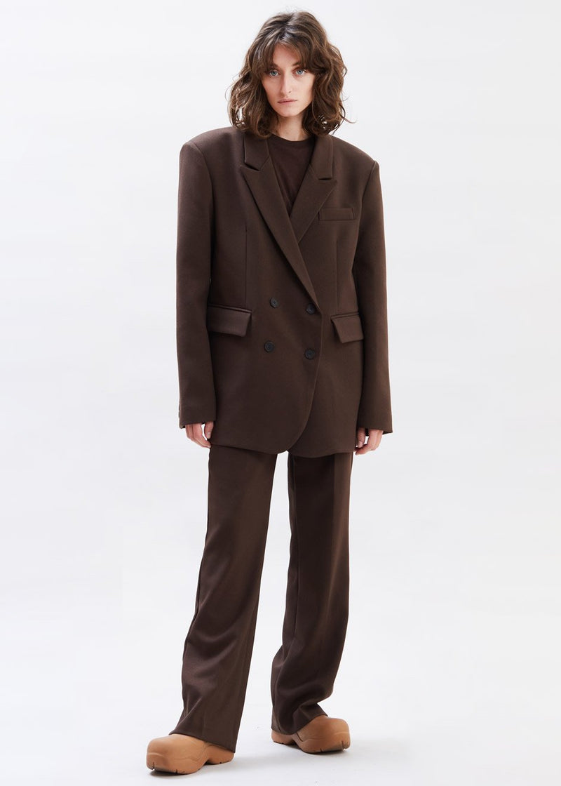 Oversized Double Breasted Suit Blazer in Dark Espresso