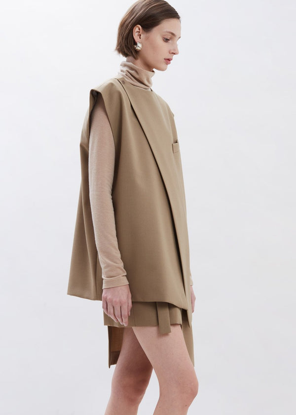 Asymmetric Sleeveless Blazer by Covert x Ilenia Toma in Khaki