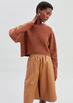 Cropped High-Low Crewneck Sweater in Amber Melange