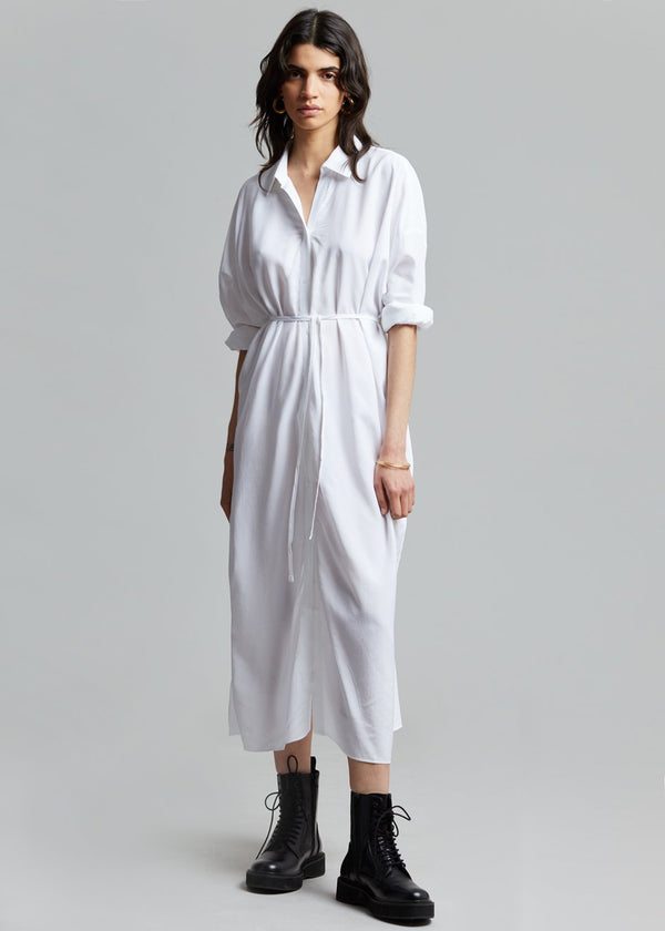 Magna Belted Shirt Dress - Optic White