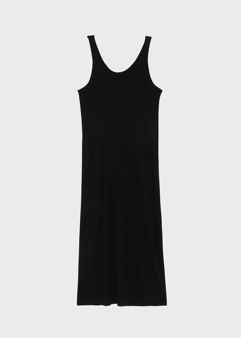 Knit Tank Dress and Slit Turtleneck Set in Black