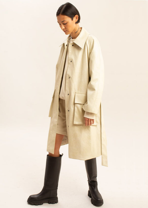 Faux Leather Belted Cargo Coat in Pearl
