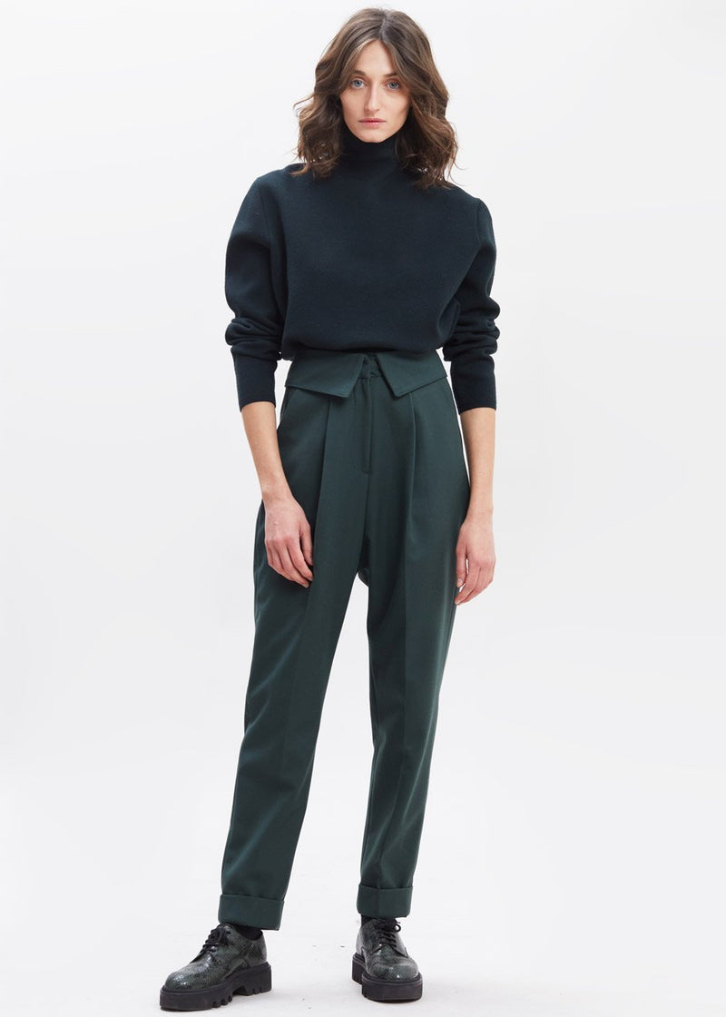 Foldover Waist Tapered Trousers in Evergreen