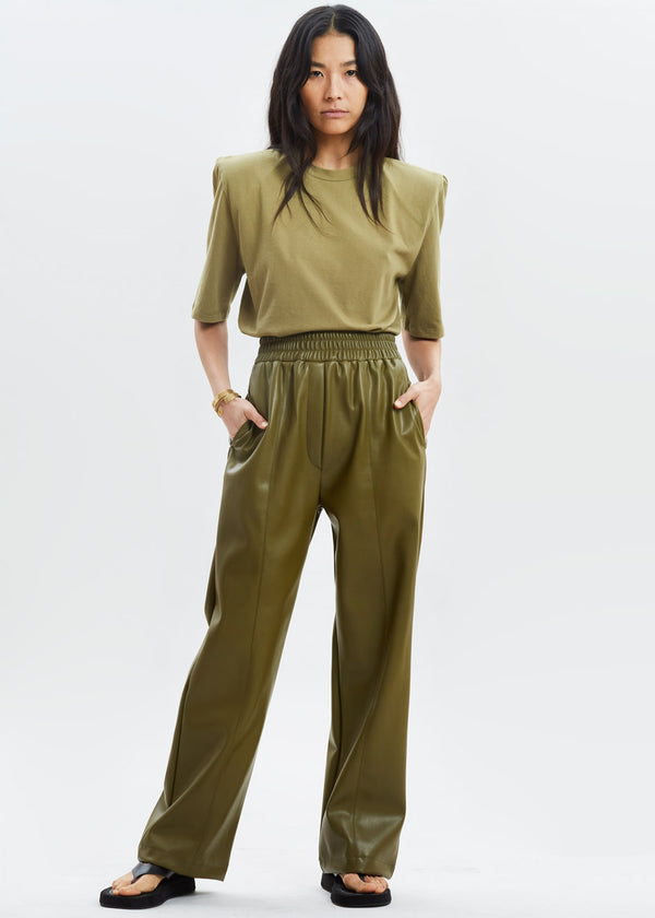 Faux Leather Casual Trousers in Bright Olive