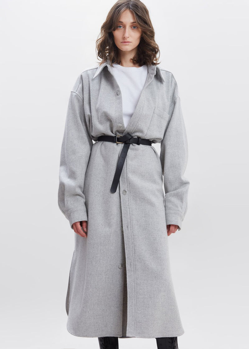 Long Oversized Wool Shirt Dress in Grey Melange