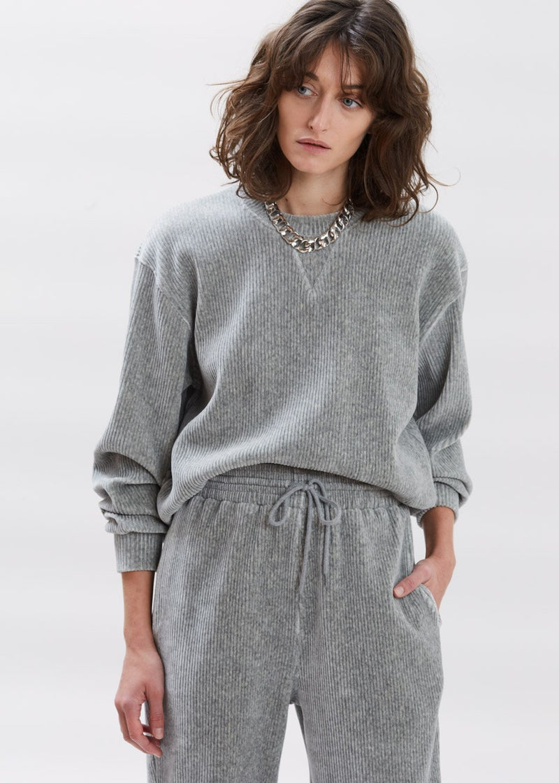Luxe Corduroy Crewneck Sweatshirt in Winter Grey