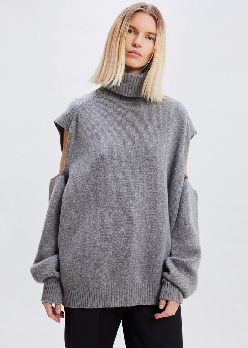 Detachable Sleeve Turtleneck Sweater in Storm Grey