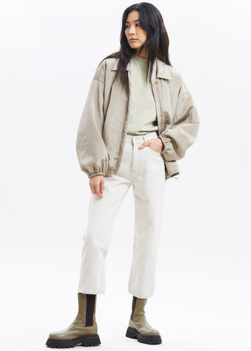 Silky Padded Blouson Jacket by Amomento in Light Khaki