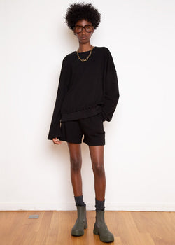 Jaimie Cotton Top and Shorts Set in Black