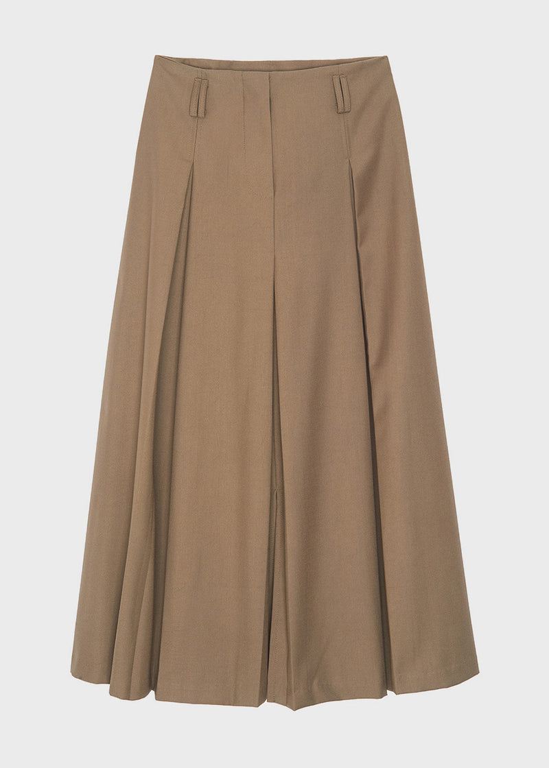 A-Line Pleated Midi Skirt in Pale Olive