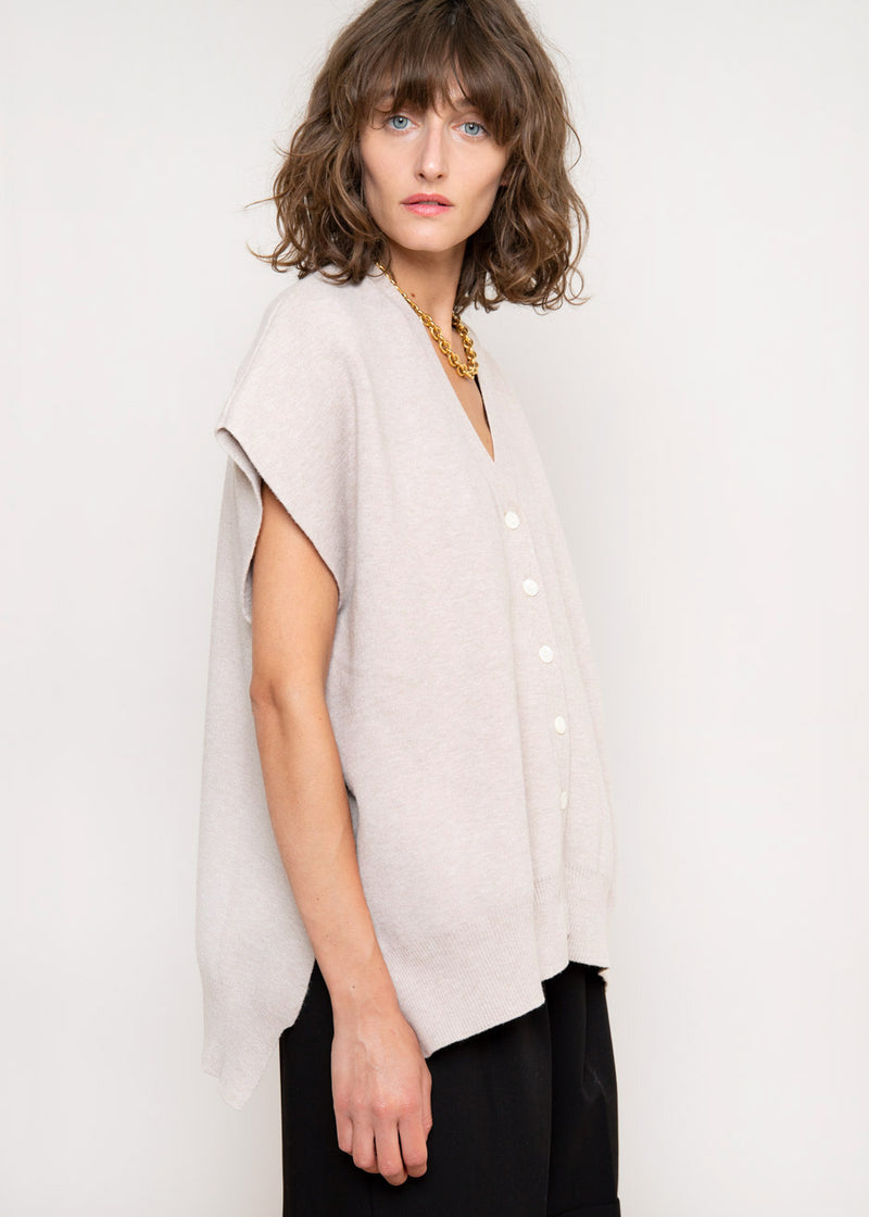 High-Low Modal Blend Vest in Dove
