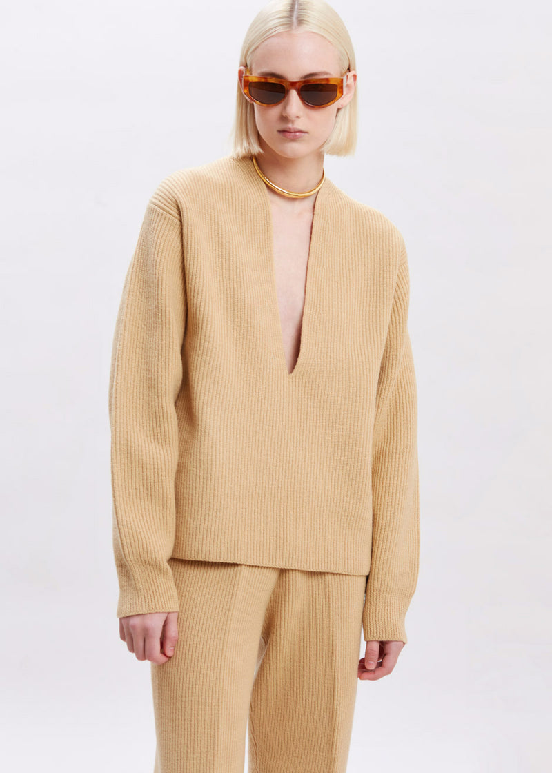 Ribbed Deep Split Neck Sweater in Butter
