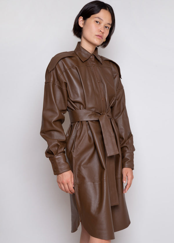 Lavare Leather Shirt Dress by Remain Birger Christensen in Bison