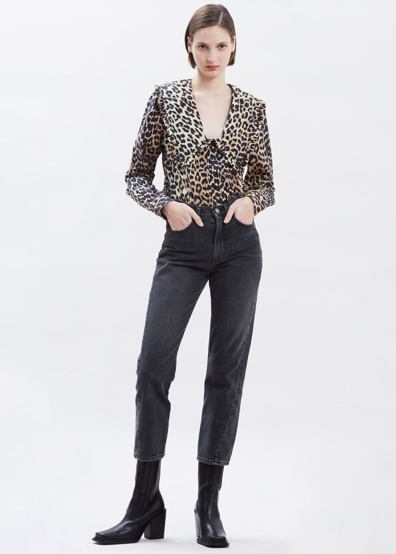 Cotton Poplin Ruffle Collar Blouse by GANNI in Leopard