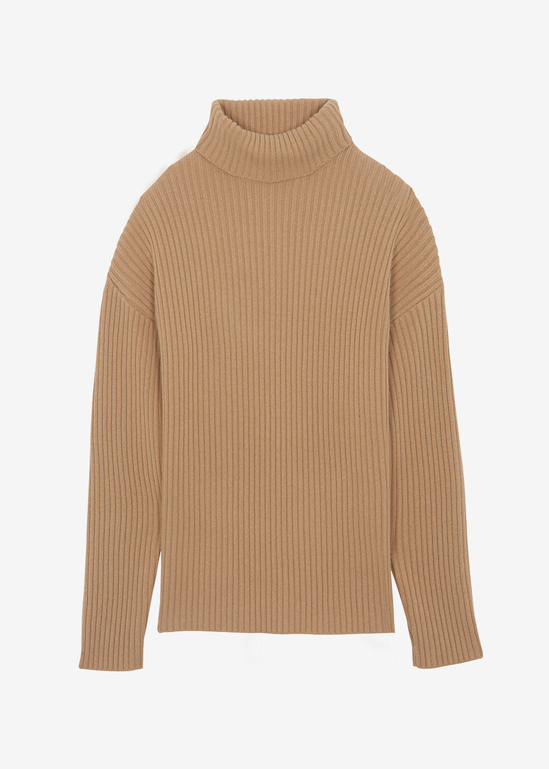 Elongated Rib Roll Neck Sweater in Toast