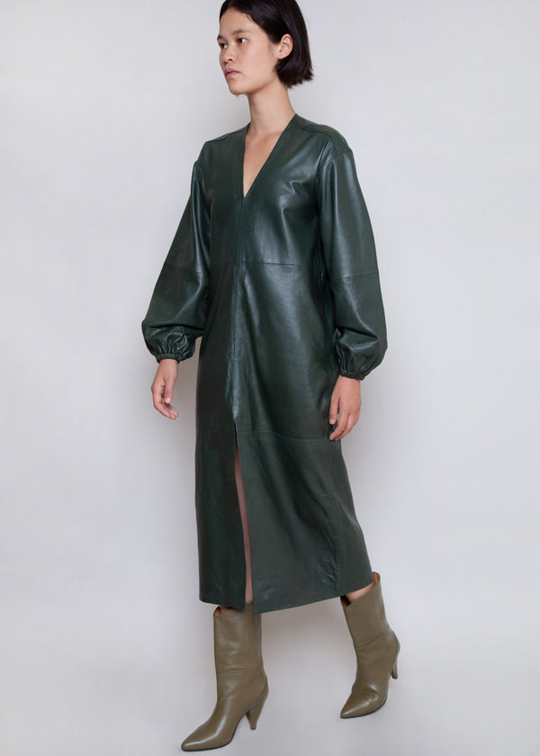 Vivian Leather Midi Dress by Remain Birger Christensen in Deep Depths