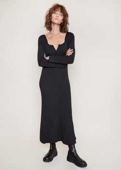 V-Neck Knitted Long Dress by Bevza in Black