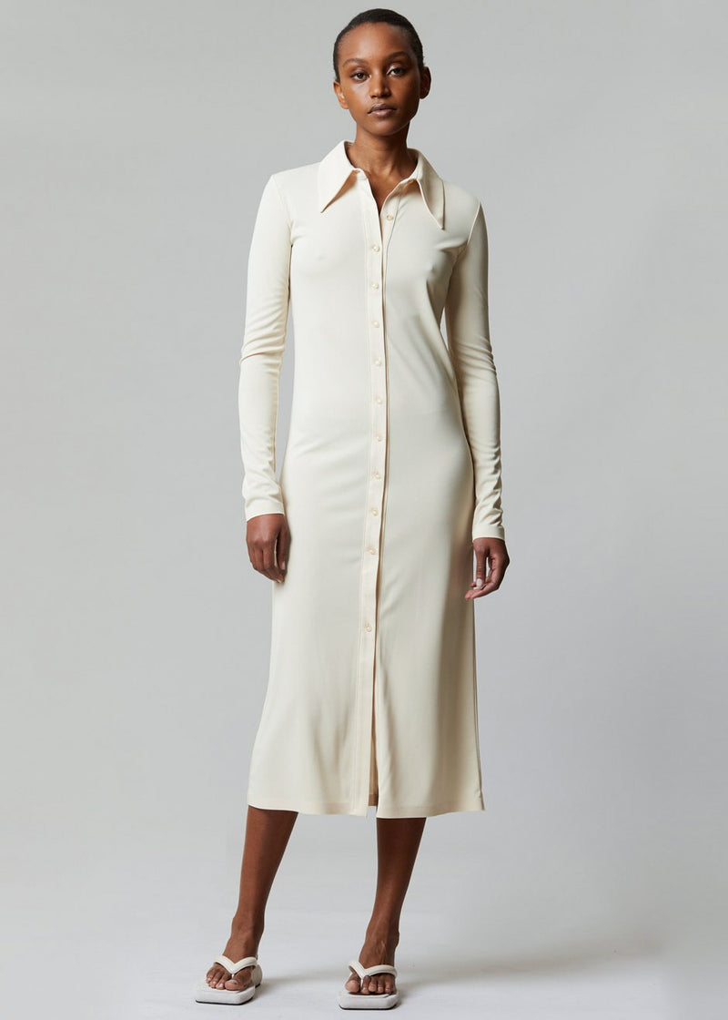 Jersey Long Shirt Dress by Low Classic in Butter