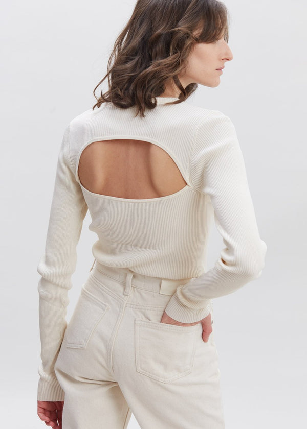 Basel Open Back Knit Top by Remain Birger Christensen in Birch