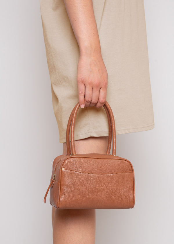 By Far Martin Bag in Cognac Grained Leather