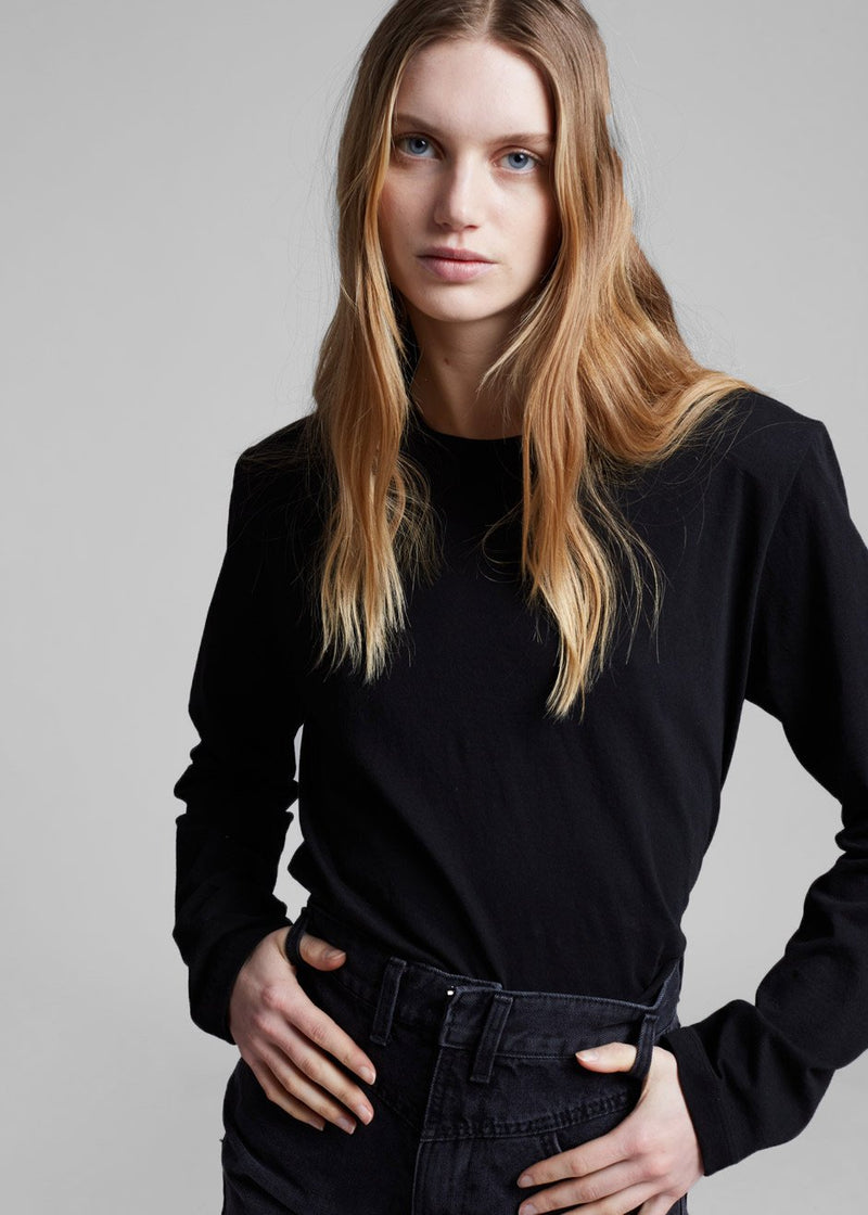Padded Shoulder Long Sleeve Tee in Black