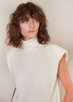 Fazziolu Sleeveless Turtleneck Knit by Loulou Studio in Ivory