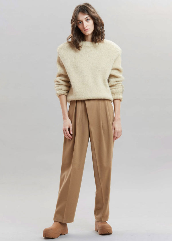 Crossover Waist Felt Trousers in Tobacco