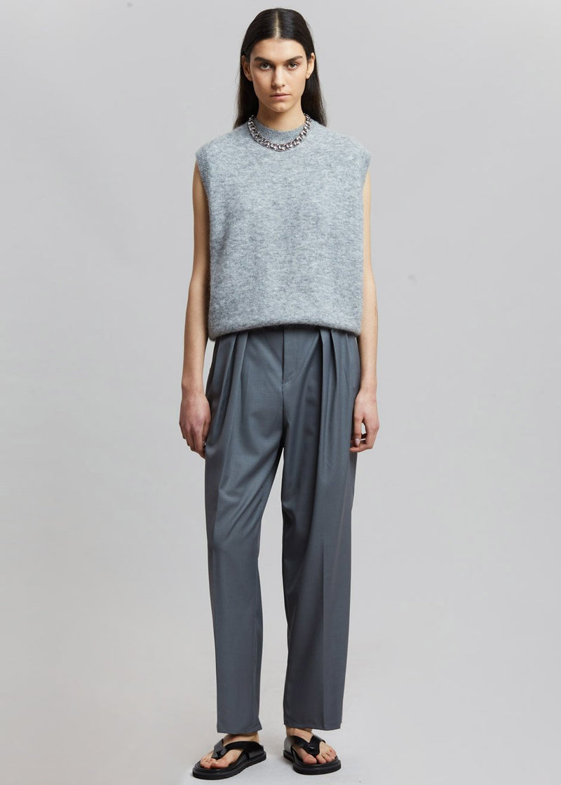 Pleat Front Loose Fit Trousers in Gunmetal