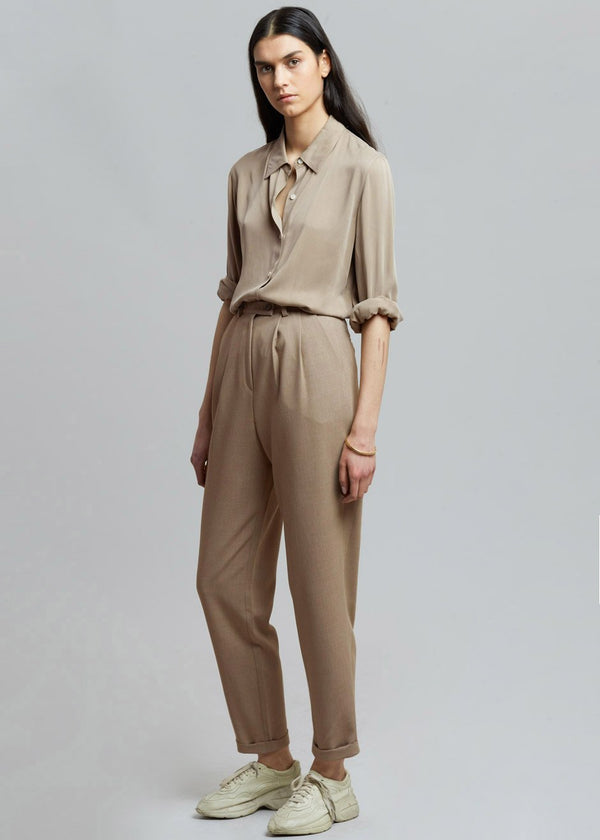Cuffed Tapered Trousers in Travertine