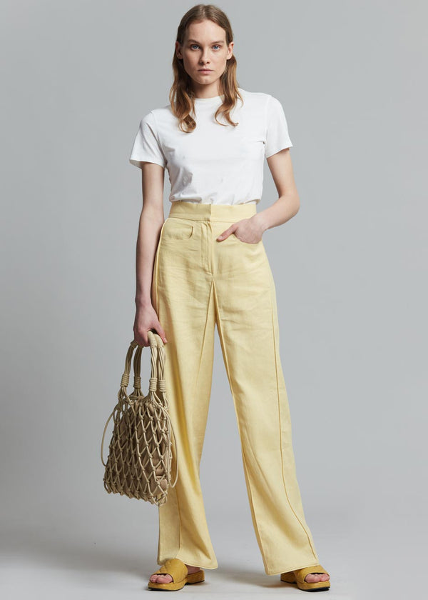 Bevza Linen Square Pants in Yellow