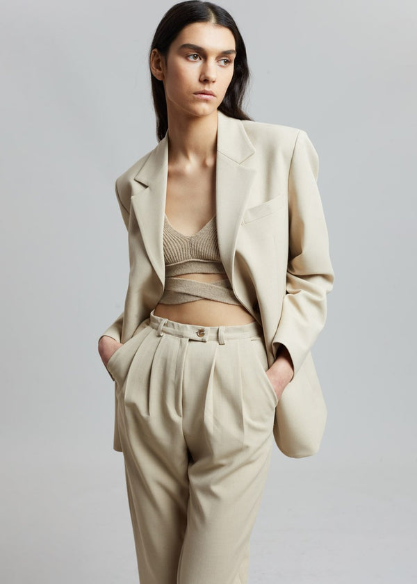 Cuffed Tapered Trousers in Sand